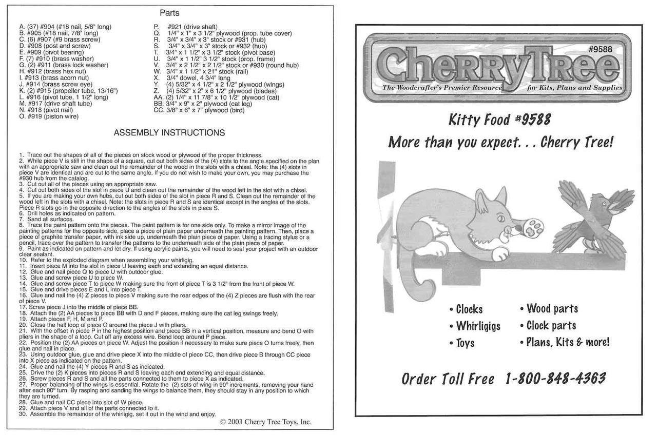 Cherry Tree Toys Kitty Fun Whirligig Plan