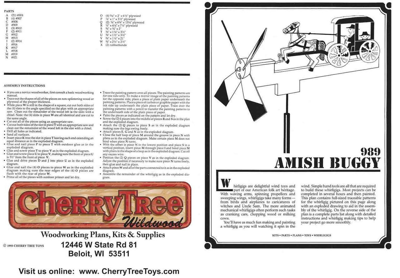 Cherry Tree Toys Amish Buggy Whirligig Plan