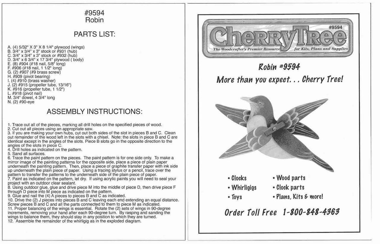 Cherry Tree Toys Robin Whirligig Plan