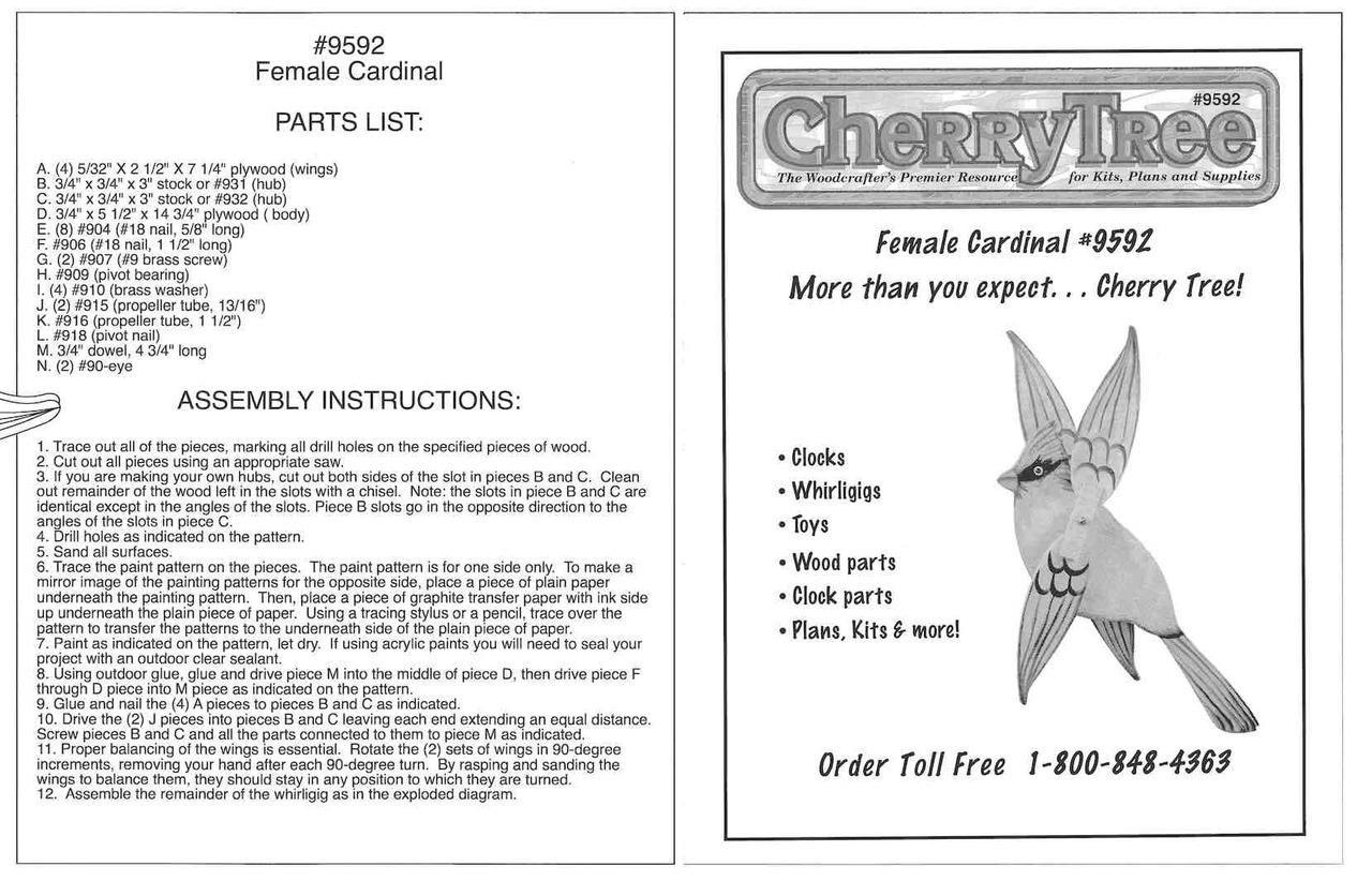 Cherry Tree Toys Female Cardinal Whirligig Plan