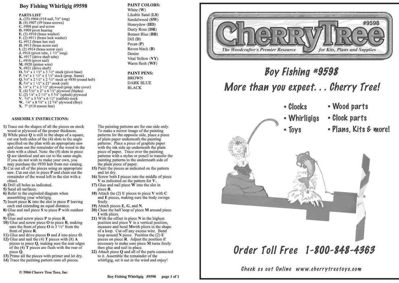 Cherry Tree Toys Boy Fishing Whirligig Plan