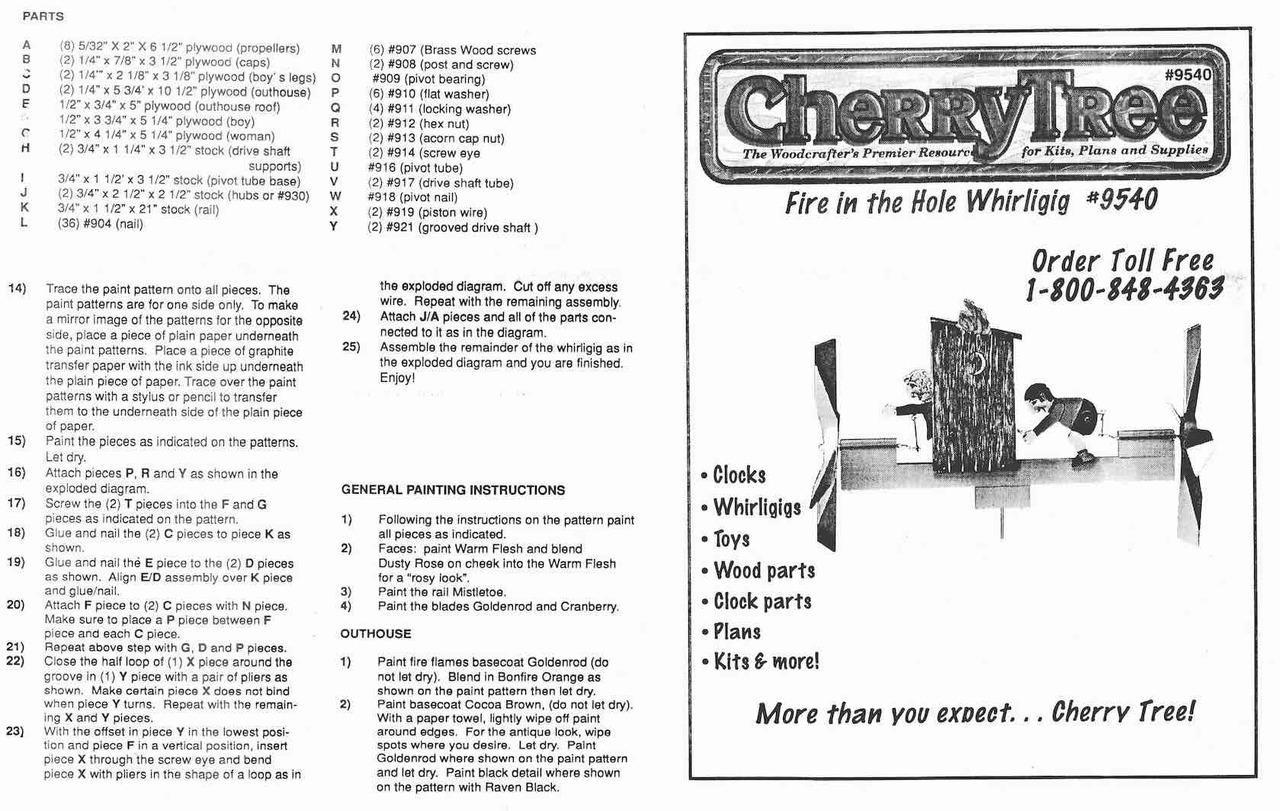 Cherry Tree Toys Privy Fun Whirligig Plan