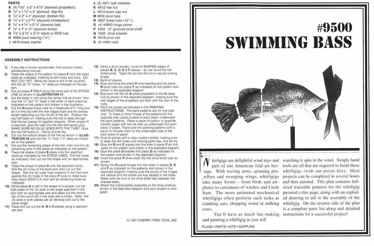 Cherry Tree Toys Swimming Bass Whirligig Plan