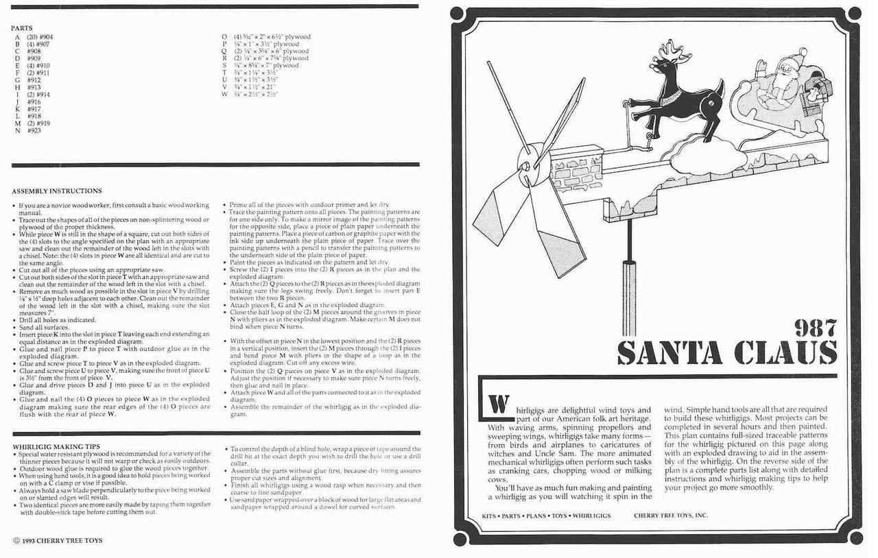 Cherry Tree Toys Santa Claus Whirligig Plan