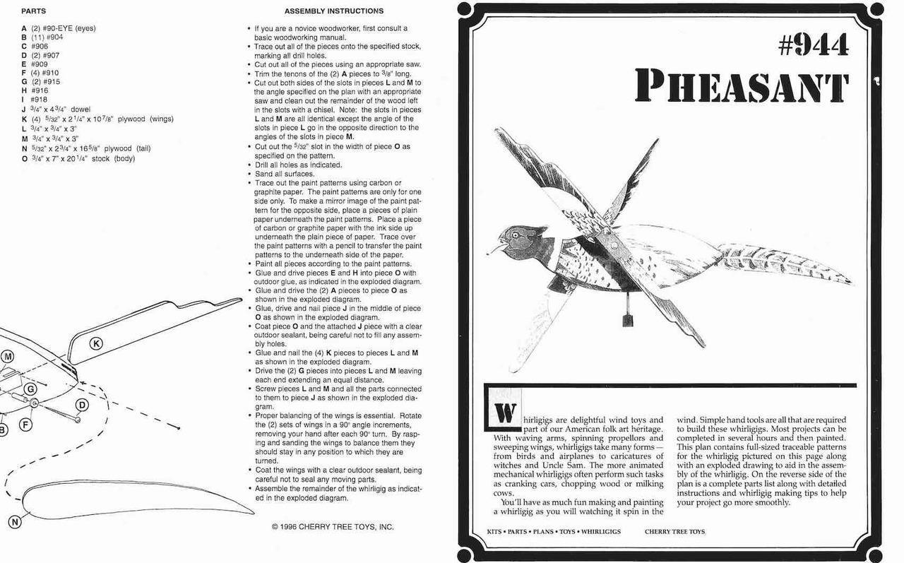Cherry Tree Toys Pheasant Whirligig Plan