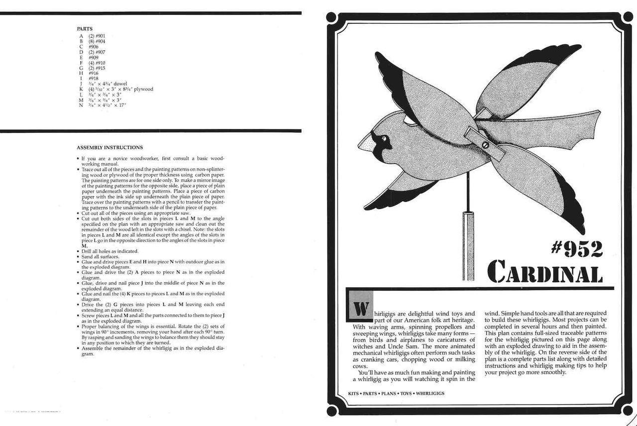 Cherry Tree Toys Cardinal Whirligig Plan