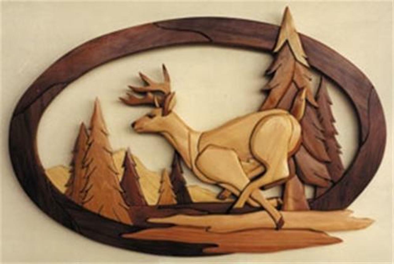 Cherry Tree Toys Running Deer Intarsia Plan