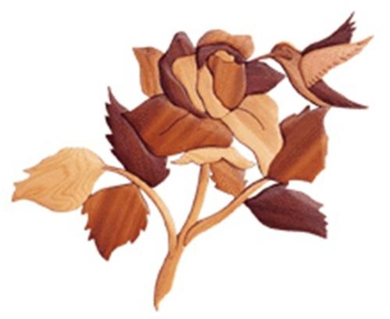 Cherry Tree Toys Rose with Hummingbird Intarsia Plan