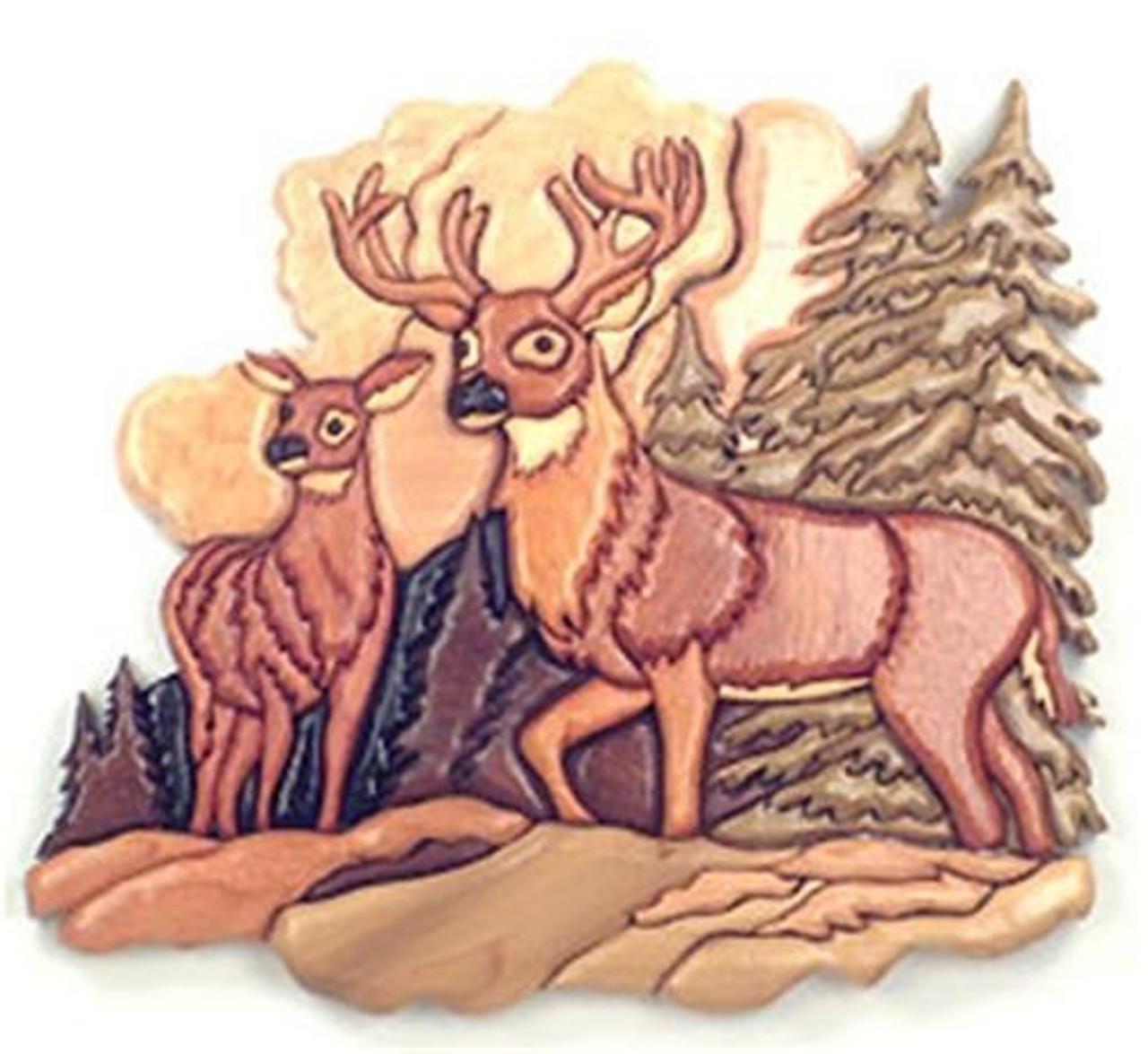 Cherry Tree Toys Deer Scene Intarsia Plan