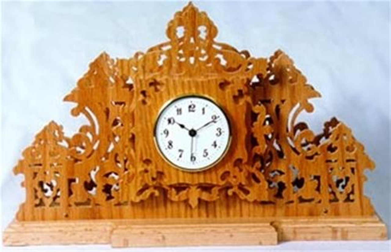 Wildwood Designs Fretwork Mantel Scroll Saw Clock Plan