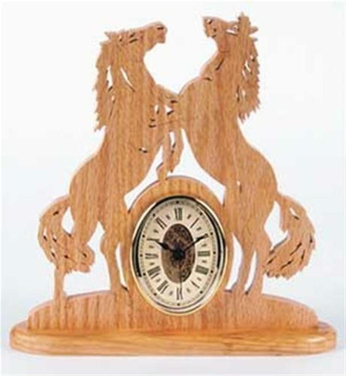 Wildwood Designs Fighting Mustangs Scroll Saw Clock Plan