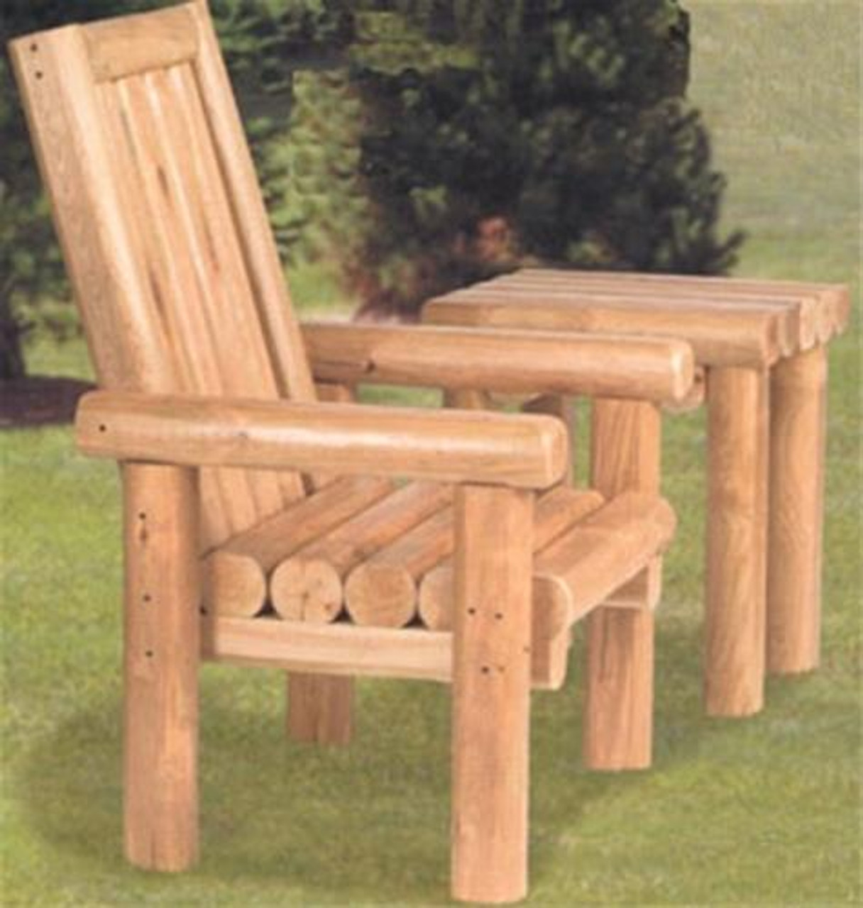 Build your outdoor furniture with this Winfield Collection Rustic Chair and Table Plan.