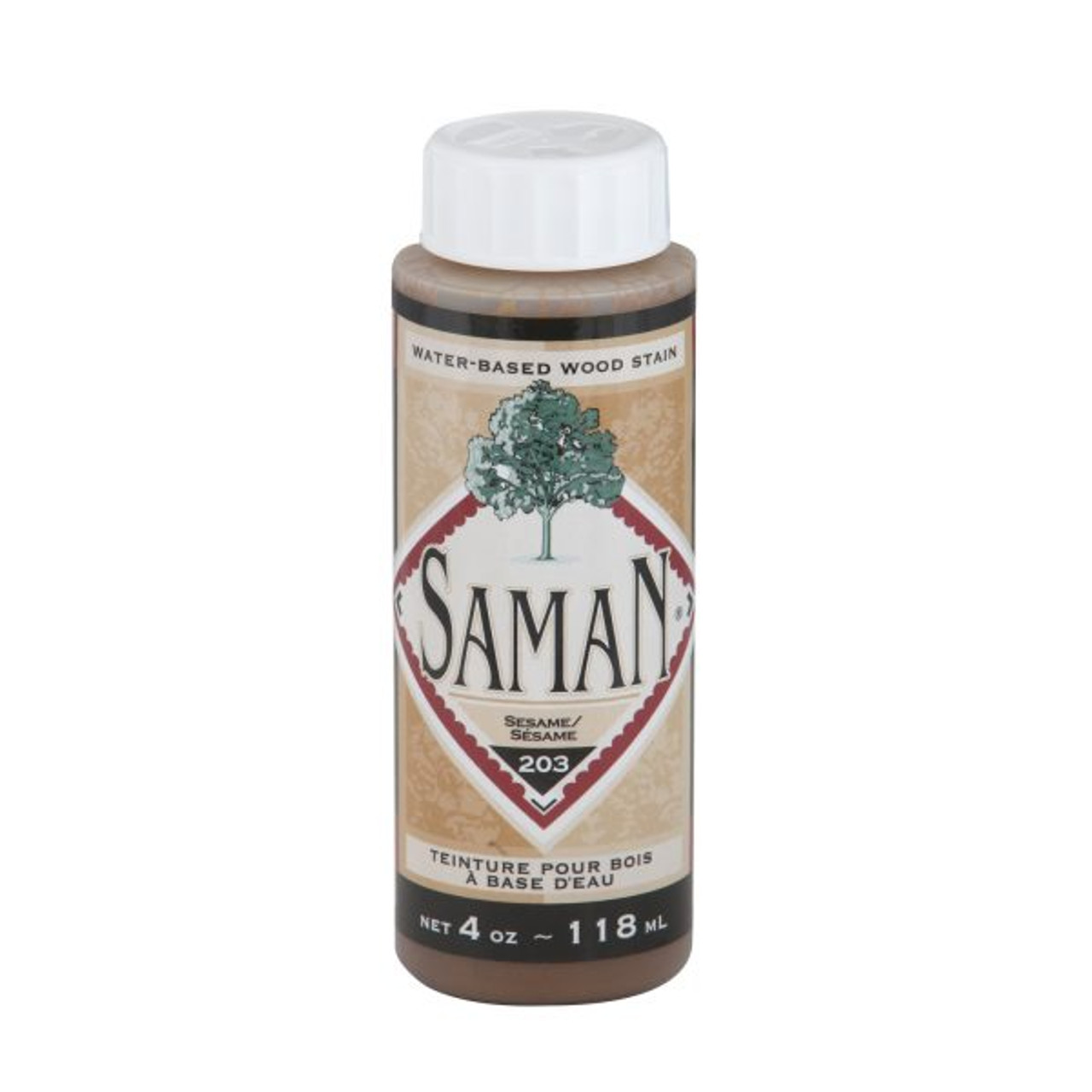 A bottle of the Saman sesame colored stain.