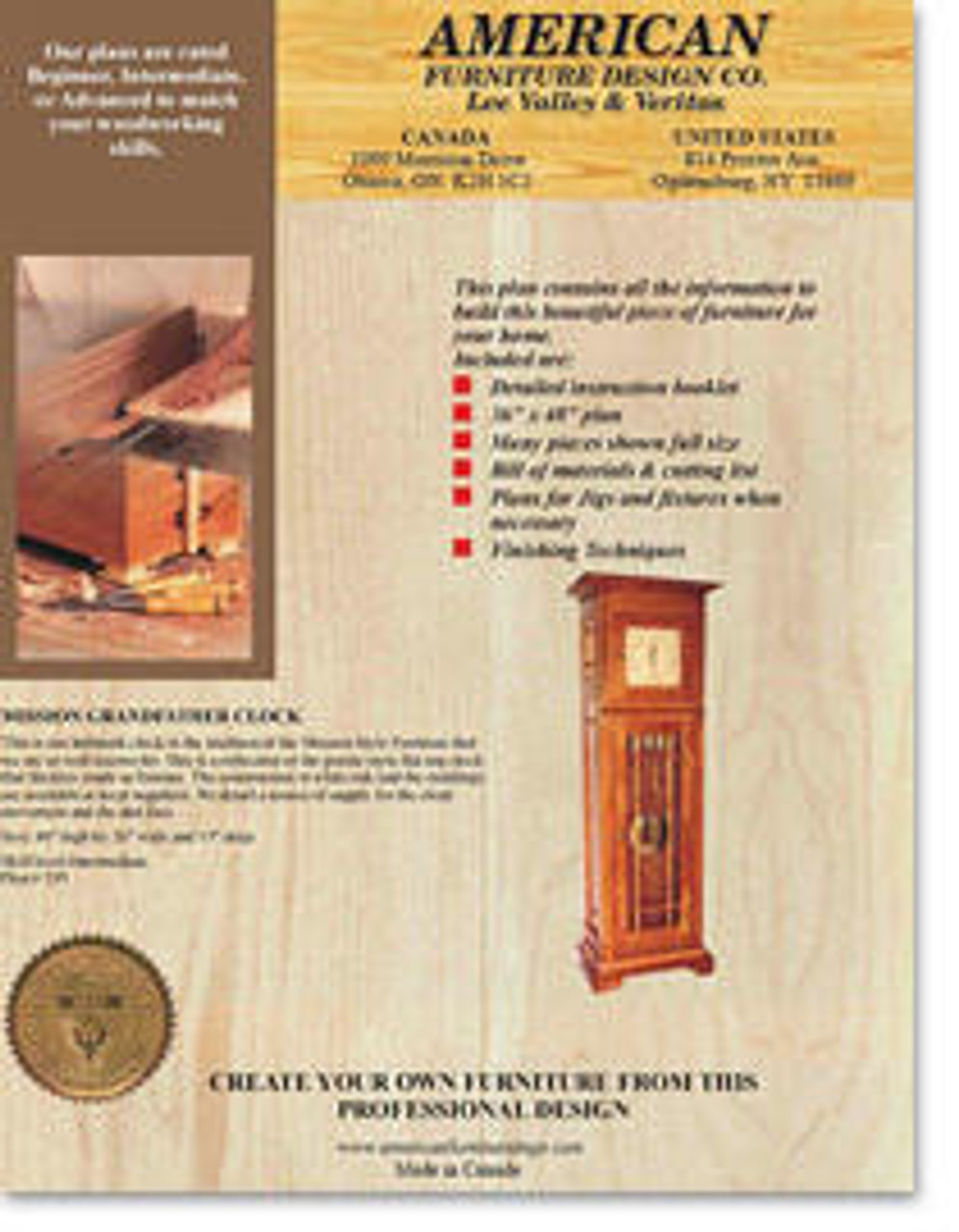 American Furniture Mission Grandfather Clock Plan