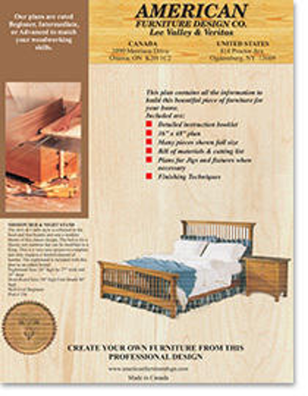American Furniture Mission Bed and Night Stand Plan