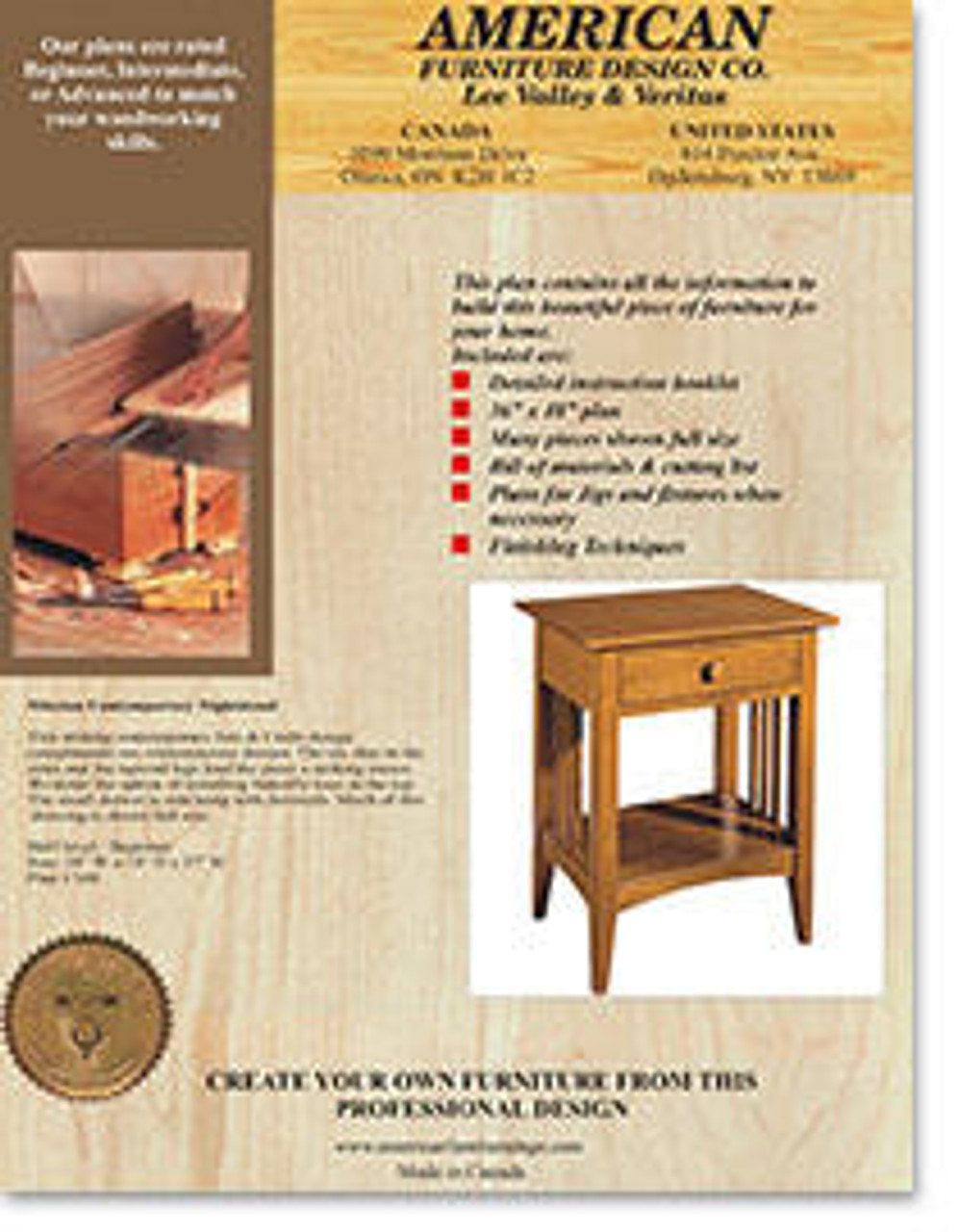 American Furniture Mission Contemporary Night Stand Plan