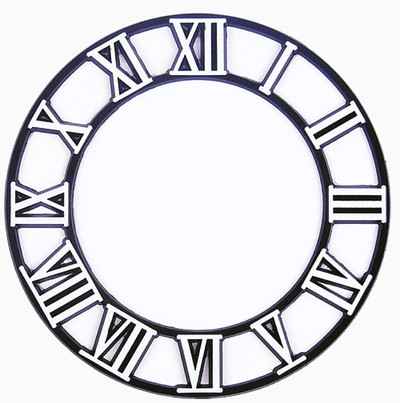 Clock Time Ring with White Roman Numerals and a black background.