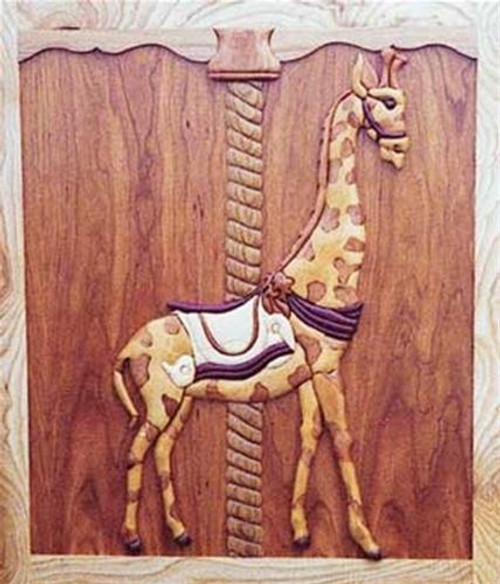 Cherry Tree Toys Carousel Giraffe Intarsia Plan