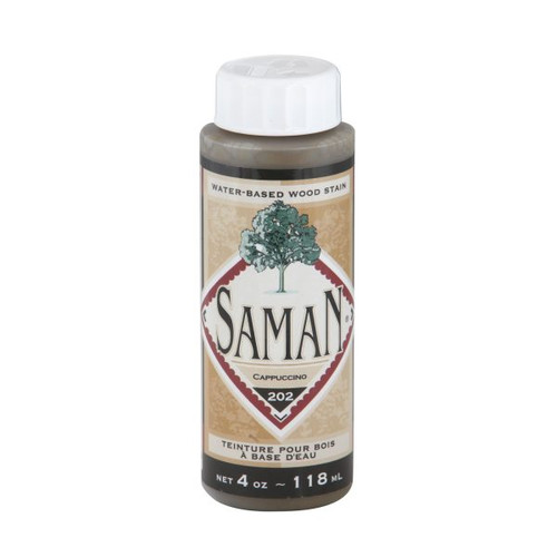 A bottle of the Saman Cappuccino stain.