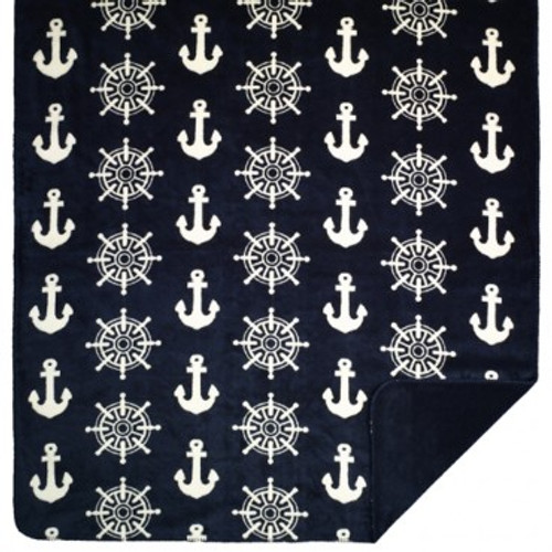 "Anchors and Wheels Microplush Throw 60"" x 70"""