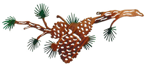 "24"" Pine Cone Branch Metal Wall Art by Lazart"