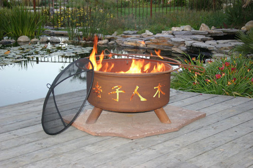 "Patina ""Chinese Symbols"" Fire Pit"
