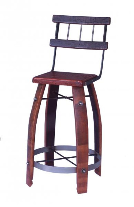 2- Day Designs Stave Stool W/Back Wood Seat