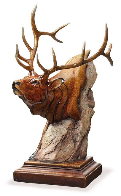 Power Play Elk Sculpture by Stephen Herrero