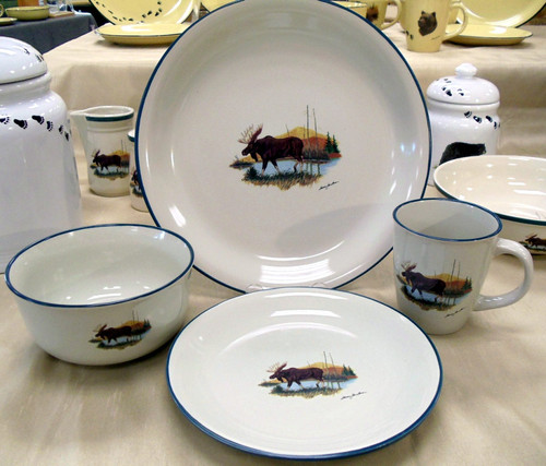 Moose Dinnerware Set/16 - Cabin Collection
