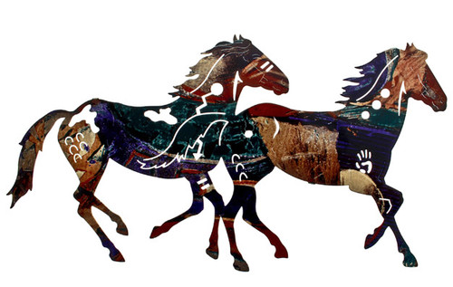 """Painted Pony Duo"" Lazart Metal Wall Art"