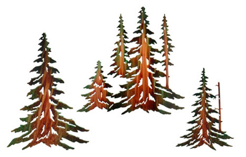 Pine Tree Set Metal Wall Art