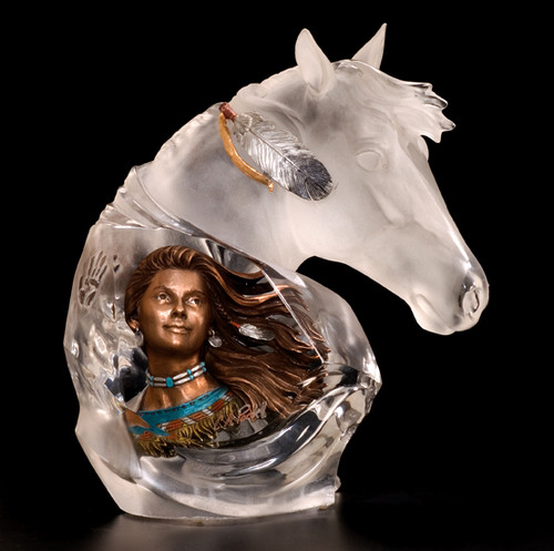 """Running Wind"" Indian & Horse Sculpture"