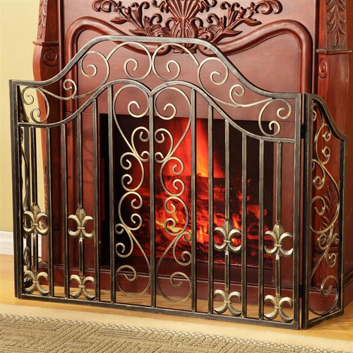 Fleur de Lis and Scroll Fireplace Screen by SPI
