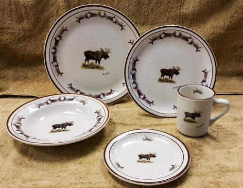 Moose With Antlers Classic Rustic Brown Speckled Dinnerware Set/20