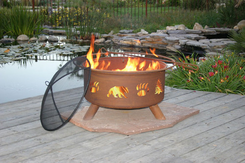 "Patina ""Bear and Tree"" Outdoor Fire Pit"