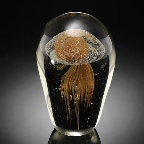 Yellow Jellyfish Glow in The Dark Art Glass by SPI