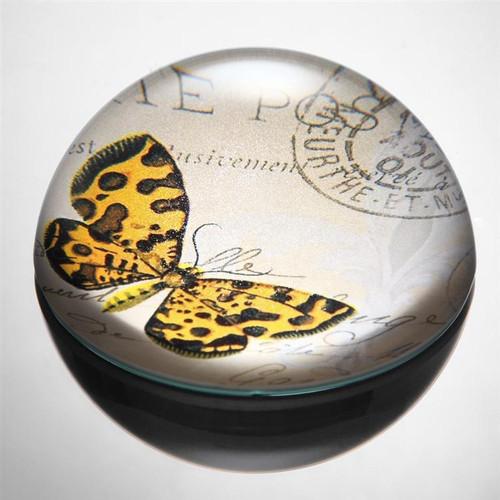 Art Glass Orange & Brown Butterfly Paperweight