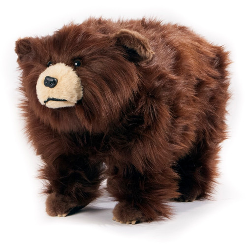 "Friendly Footstools Plush ""Griz"" Shaggy Brown Bear"
