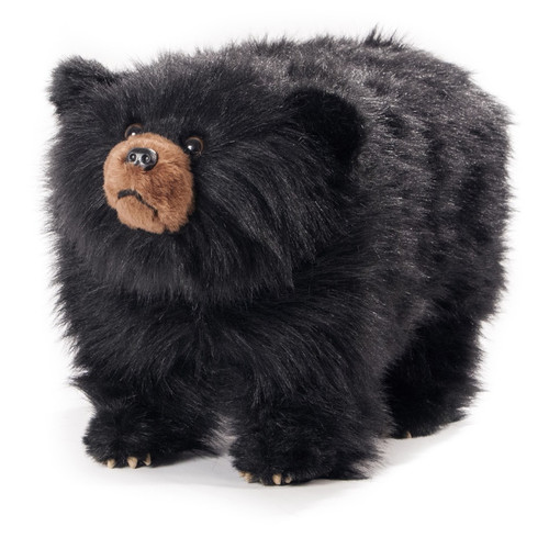 "Friendly Footstools Plush Shaggy Black Bear ""Shadow"""