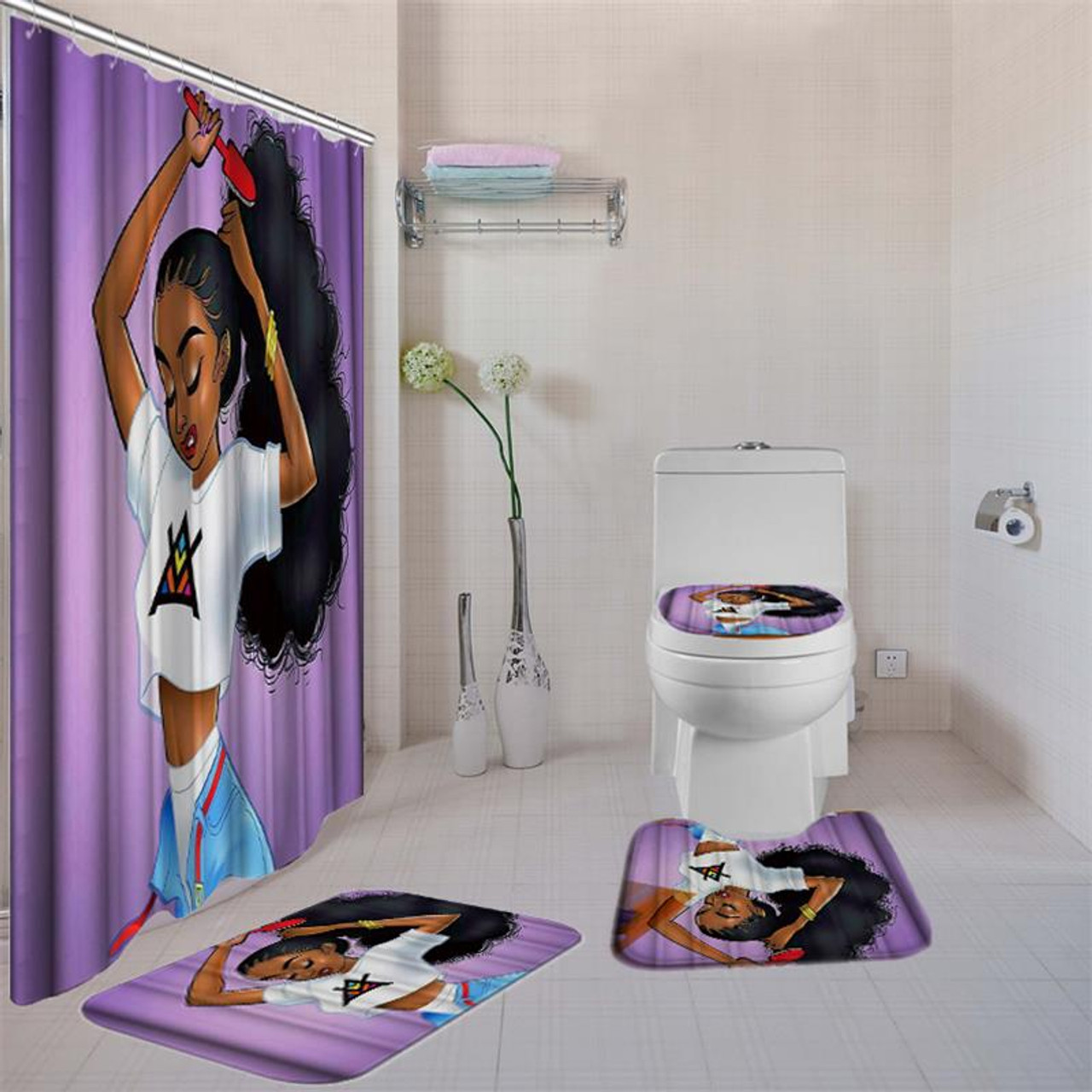 4 Pcs Bathroom Sets With Shower Curtain African American Girl Shower Curtain Bath Rug Sets Toilet Cover Bath Mat Set With Hooks Street Market Africa
