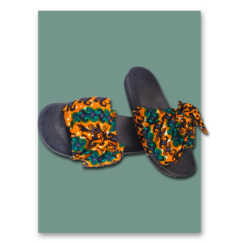unisex African Print Slide Slippers  multi rich color