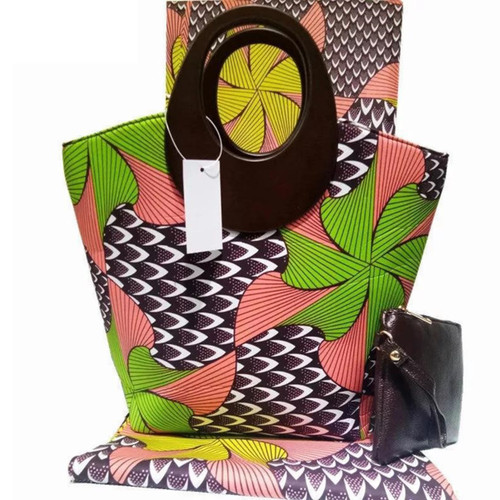 African Print Handbag with cute purse for Occasions