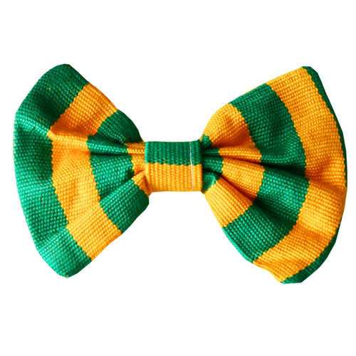 Kente Bow Tie / Green & Yellow | African Print Design | African Print Pocket Square | Hand Weaved Kente Bow Tie