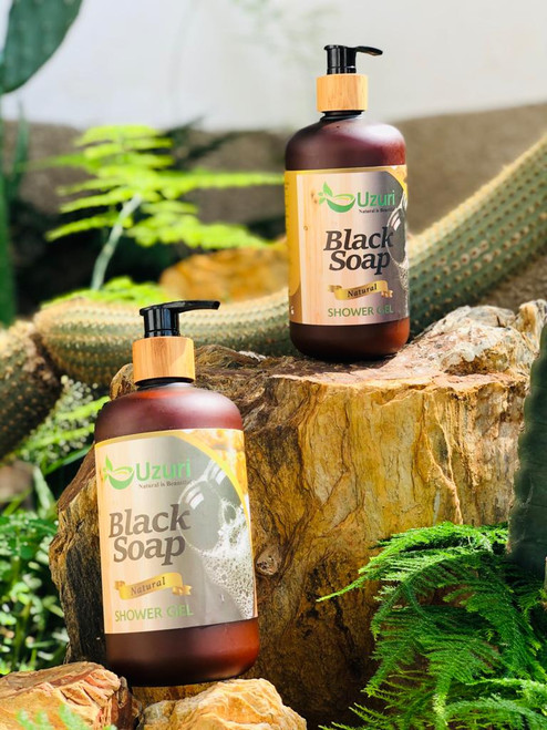 UZURI BLACK SOAP SOAP SHOWER GEL, 500ML