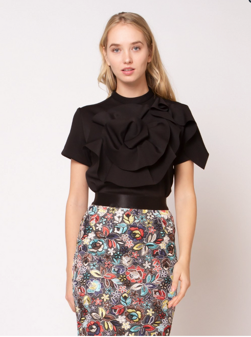 SCUBA flare flower shape detail top