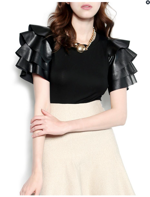 Pleather Tiered Short Sleeve Top
