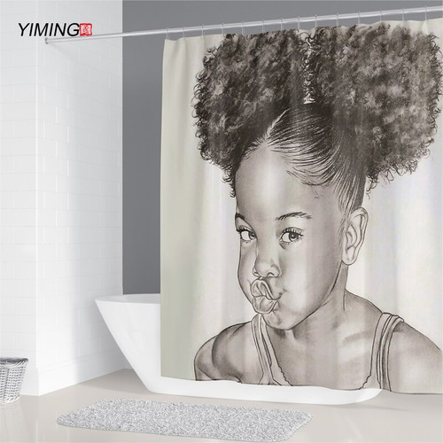 YIMING African American Girl Printed Bathroom Curtain Waterproof Mildew Bathroom Decoration Shower Curtain with Hook 180*200cm