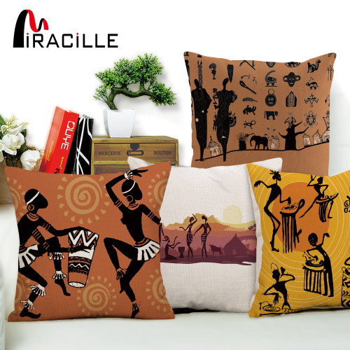 Dancing Woman Ethnic Cushion Cover African Style Pillow Case Linen Cotton Color Cloth for Sofa Throw Pillows