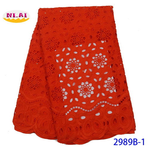 Red African Dry Lace Fabric 2020 High Quality Embroidery Nigerian Swiss Voile Lace Cotton Fabrics For Women Dress