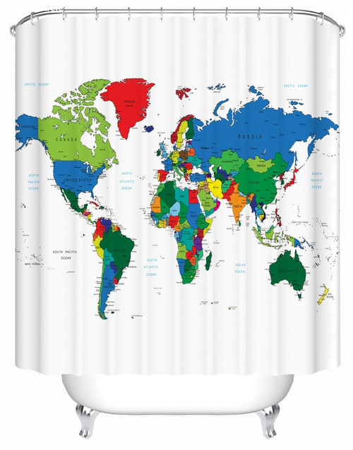 Bathroom Shower curtain Colorful world map
